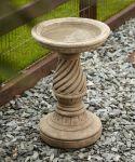 Spiral Design Stone Birdbath - Garden Bird Bath Feeder