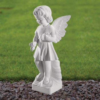 Angel Figurine 29cm Religious Statue - Marble Garden Ornament