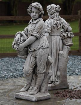 Autumn Boy Stone Sculpture - Large Garden Statue