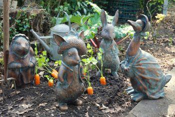 Beatrix Potter Collection of 4 Bronze Garden Ornaments