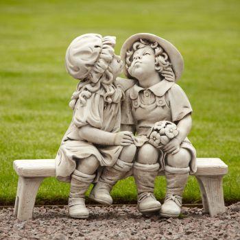 Boy & Girl Stone Figurine Ornament - Large Garden Statue