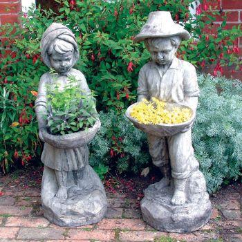 Boy & Girl Stone Sculpture - Large Garden Statue