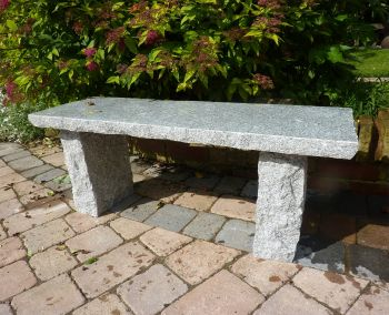 Classic Natural Granite Grey Stone Bench - Large Garden Benches
