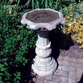 Classic Ornate Stone Birdbath Feeder - Garden Bird Bath