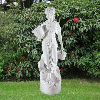 Country Girl 140cm Garden Sculpture - Large Marble Statue