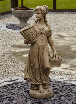 Country Girl Stone Figurine Sculpture - Large Garden Statue