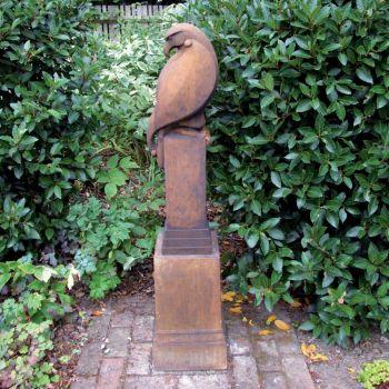 Eagle on Plinth Modern Statue (Rust) - Garden Sculpture