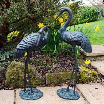 Elegant Cranes Bronze Metal Garden Ornaments