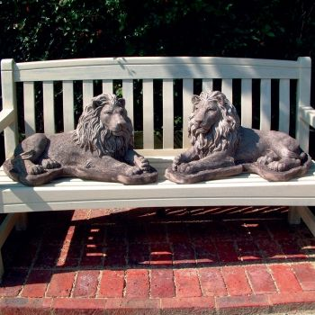 English Lions Stone Statue - Large Garden Ornament