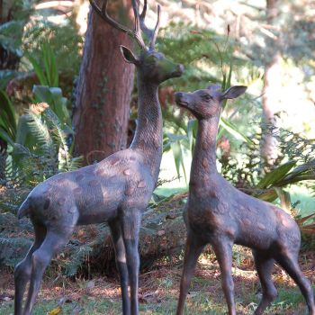 Extra Large Deer Stag Bronze Sculpture - Garden Ornament