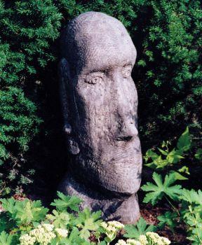 Garden Sculpture - Large Easter Island Head Stone Statue