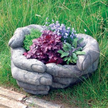 Giant Cupped Hands Stone Plant Pot - Large Garden Planter