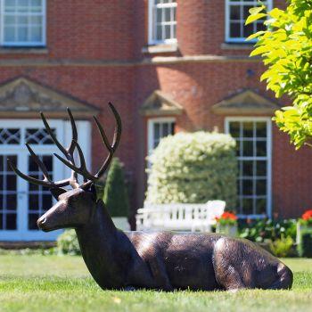 Laying Deer Stag Bronze Metal Garden Statue