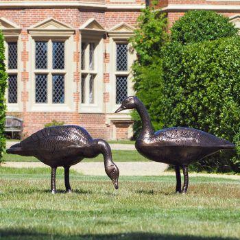 Geese Life-Size Bronze Metal Garden Statues