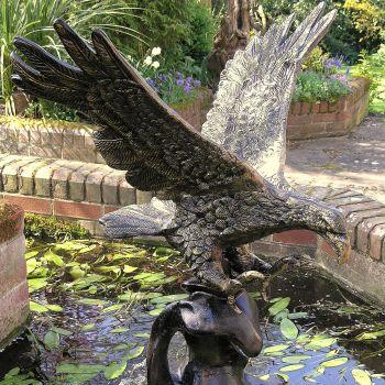 Golden Eagle on Wave Bronze Garden Statue