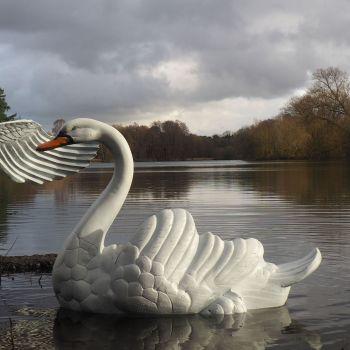 Grand Laying Swan Antique White Metal Garden Statue