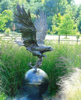 Golden Eagle on Sphere Life-Size Bronze Metal Garden Statue