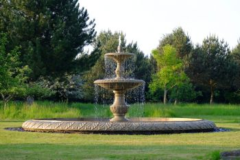 Grand Double Tier 3m Sandstone Stone Water Fountain Feature