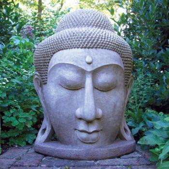 Grand Stone Buddha Head Statue - Large Garden Sculptures