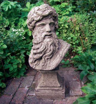 Hercules Head Bust Stone Sculpture - Large Garden Statue