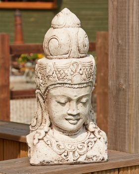 Indonesian Head Stone Bust Statue - Large Garden Ornament
