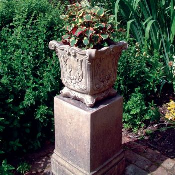 Modena 22 Stone Vase Plant Pot on Plinth - Large Garden Planter