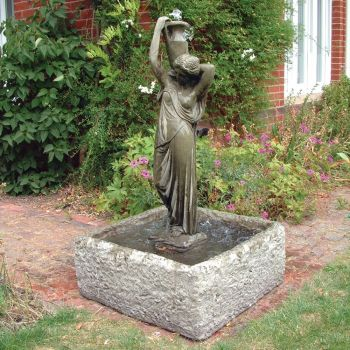 Nicole Statue Fountain & Reservoir - Garden Water Feature