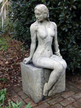 Nude Woman Figurine Stone Sculpture - Large Garden Statue