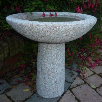 Pure Natural Granite Pink Stone Birdbath - Garden Bird Bath