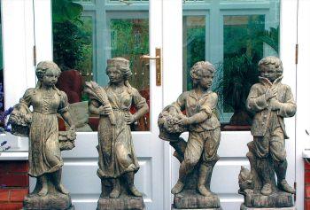 Set Four Children Stone Sculpture - Large Garden Statue