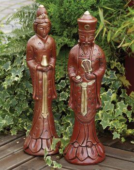 Small Japanese Man & Woman Statue - Garden Ornament