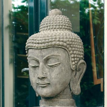 Stone Buddha Head Statue - Large Garden Sculpture