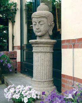 Stone Buddha Head Statue on Plinth - Large Garden Sculpture