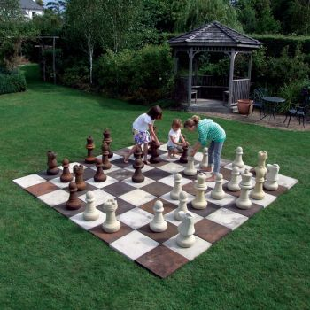 Stone Chess Set Board with Pieces - Large Garden Games