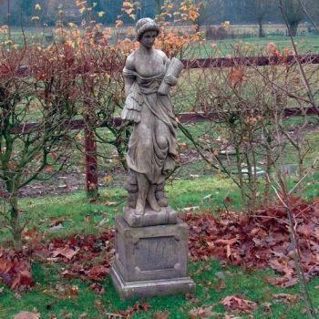Summer Maid Sculpture on Plinth - Large Garden Statue