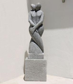 Twin Flame Modern Art Stone Statue - Large Garden Sculpture