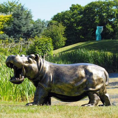 Happy Hippo Bronze Metal Garden Statue