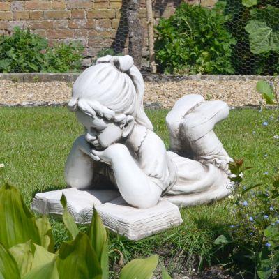 Antique Stone Laying Reading Girl Statue - 34cm Garden Sculpture