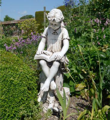 Antique Stone Reading Girl Statue - 89cm Garden Sculpture