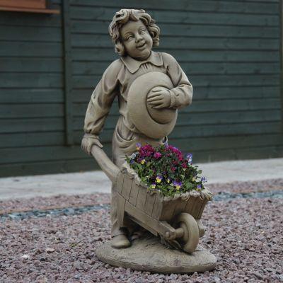 Boy & Barrow Stone Sculpture - Large Garden Statue