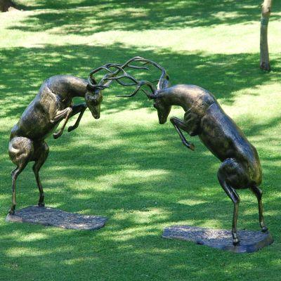 Extra Large Battling Stags Deers Bronze Metal Garden Statues