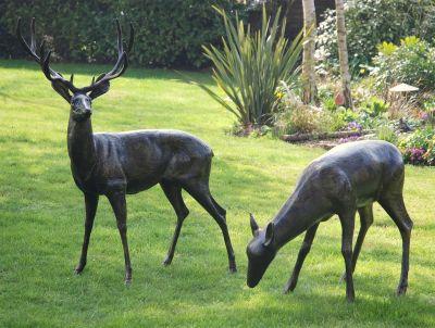 Extra Large Wild Deer Stag Bronze Statue Metal Garden Sculpture