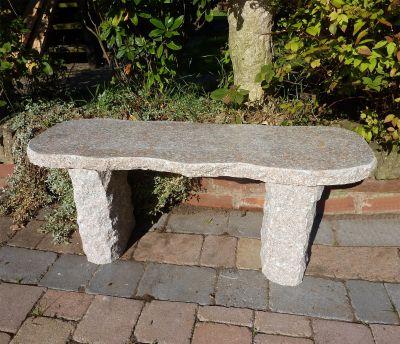 Galloway Natural Granite Pink Stone Bench - Large Garden Benches
