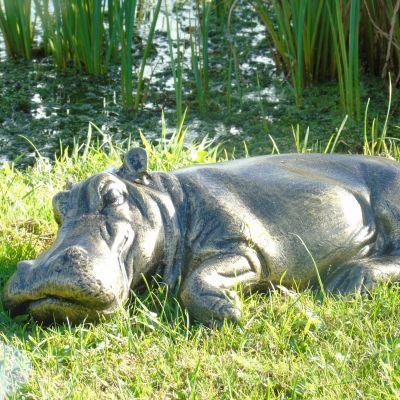 Lazy Hippo Bronze Metal Garden Statue
