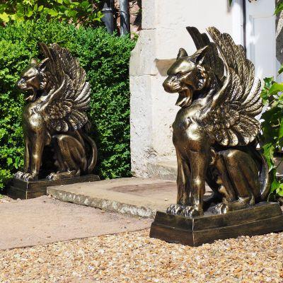 Gothic Griffins Bronze Metal Garden Statues