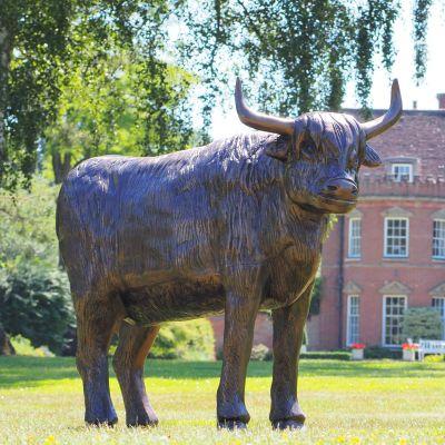 Highland Cow Bronze Metal Garden Statue