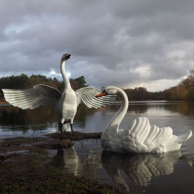 Grand Pair of Swans Antique White Metal Garden Statues