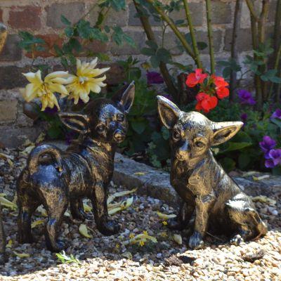 Chihuahua Dogs Bronze Metal Garden Ornaments