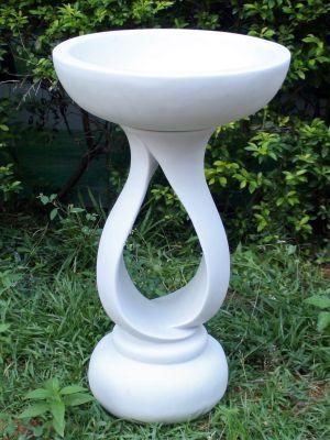 Grasmere Marble Resin Contemporary Garden Bird Bath