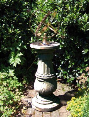 Large Pedestal Armillary Stone Sun Dial - Garden Sundial